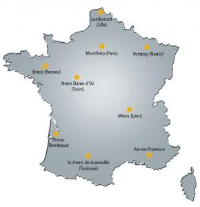 Carte d'implantation du réseau Eneria en France